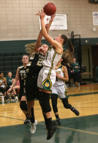 Holy Cross High School's Alyssa Hebb battles Woodland High School's Andra Bojka for a rebound during the girls varsity basketball game at Holy Cross on Monday night. Emily J. Tilley. Republican-American