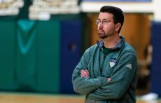 Chase Collegiate boys basketball coach Tim Fitzpatrick look on during their game against Rocky Hill (RI) Saturday at Chase Collegiate. Jim Shannon Republican-American