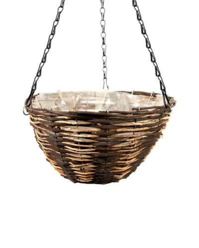 SuperMossⓇ Round Wood Woven Hanging Basket