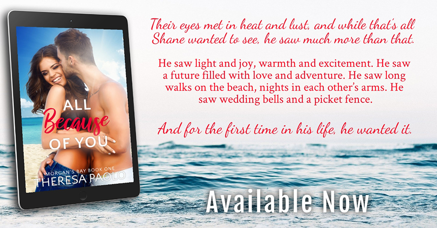 Teaser from ALL BECAUSE OF YOU, the first book in the adult contemporary romance series, Morgan's Bay, by Theresa Paolo