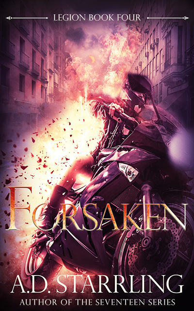 Cover for FORSAKEN, the fourth book in the adult urban fantasy series, Legion, by A.D. Starrling