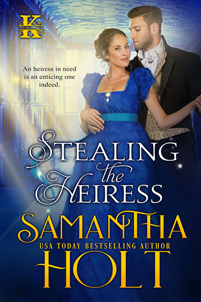 Cover for STEALING THE HEIRESS, the second book in the adult historical romance series,The Kidnap Club, by USA Today bestselling author, Samantha Holt