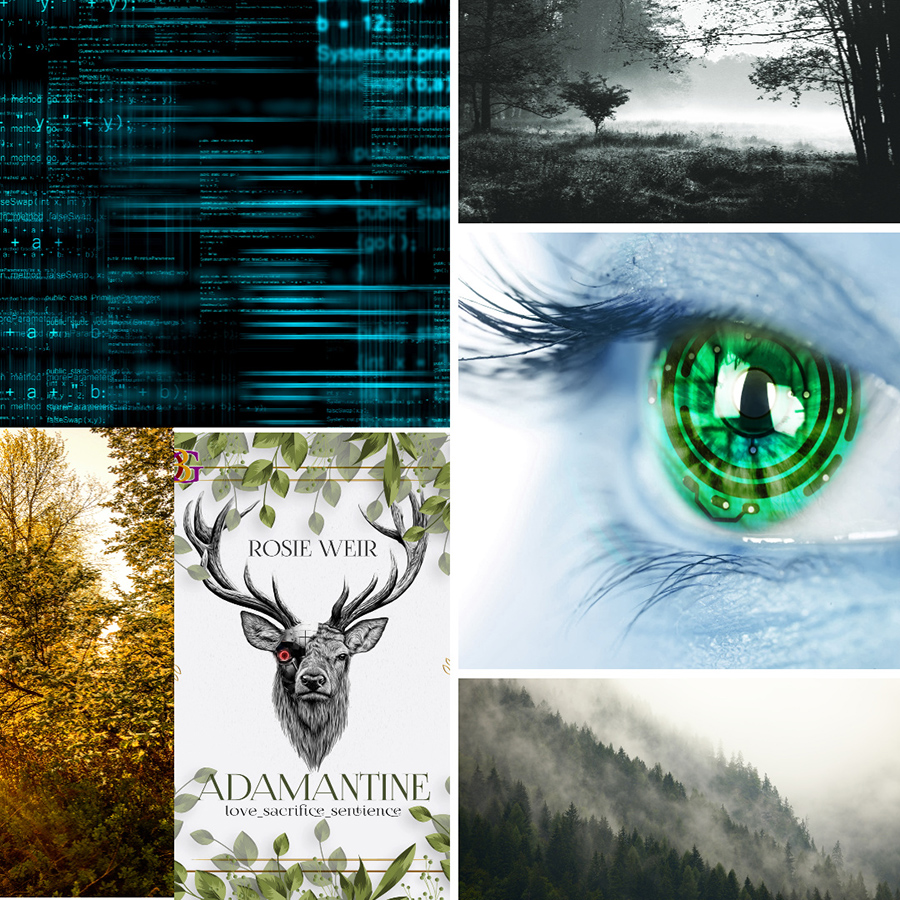 Mood board for ADAMANTINE, a stand-alone adult scifi romance, by Rosie Weir
