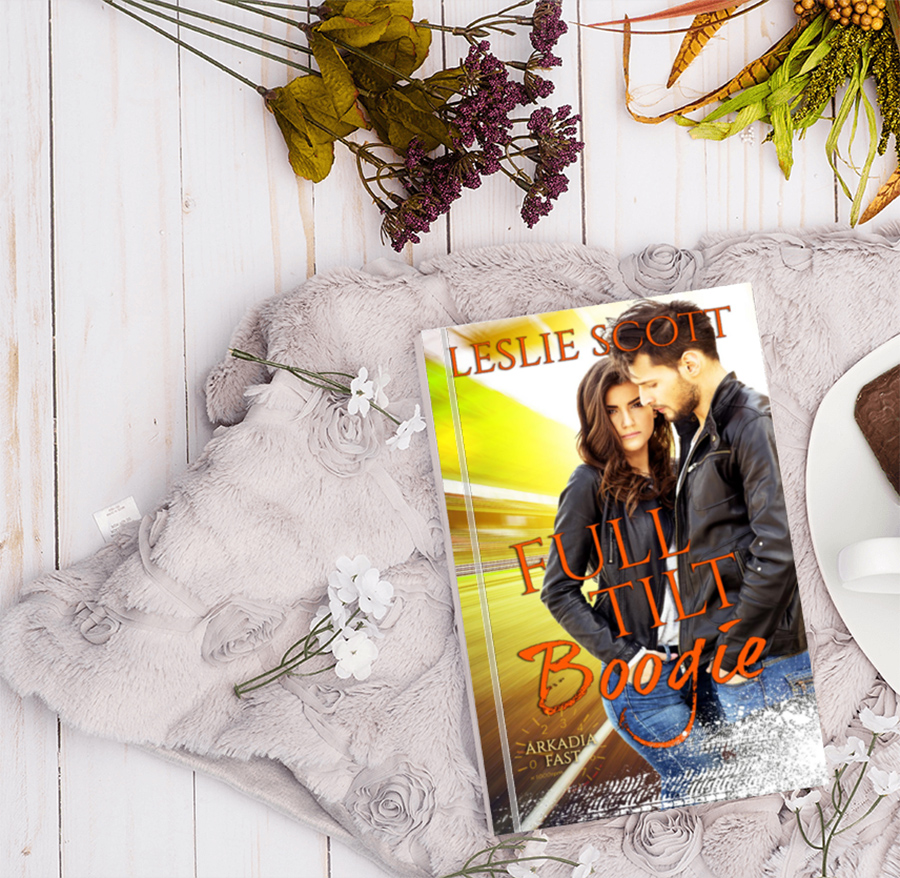 Preorder FULL TILT BOOGIE, the third book in the new adult contemporary romance series, Arkadia Fast, by Leslie Scott