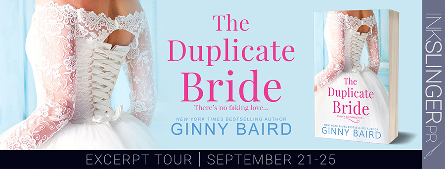 Welcome to the blog tour for THE DUPLICATE BRIDE, a stand-alone adult contemporary romance, by New York Times and USA Today bestselling author, Ginny Baird, releasing September 29, 2020