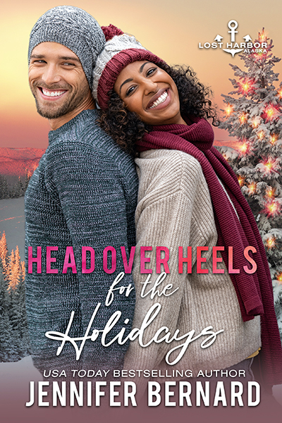 HEAD OVER HEELS FOR THE HOLIDAYS, the seventh book in the adult contemporary romance series, Lost Harbor, Alaska, by USA Today bestselling author, Jennifer Bernard