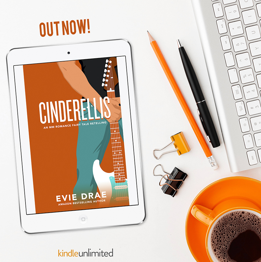 CINDERELLIS, the second book in the adult LGBTQ+ fairytale retelling romance series, Once Upon a Vegas Night, by Evie Drae is out now!