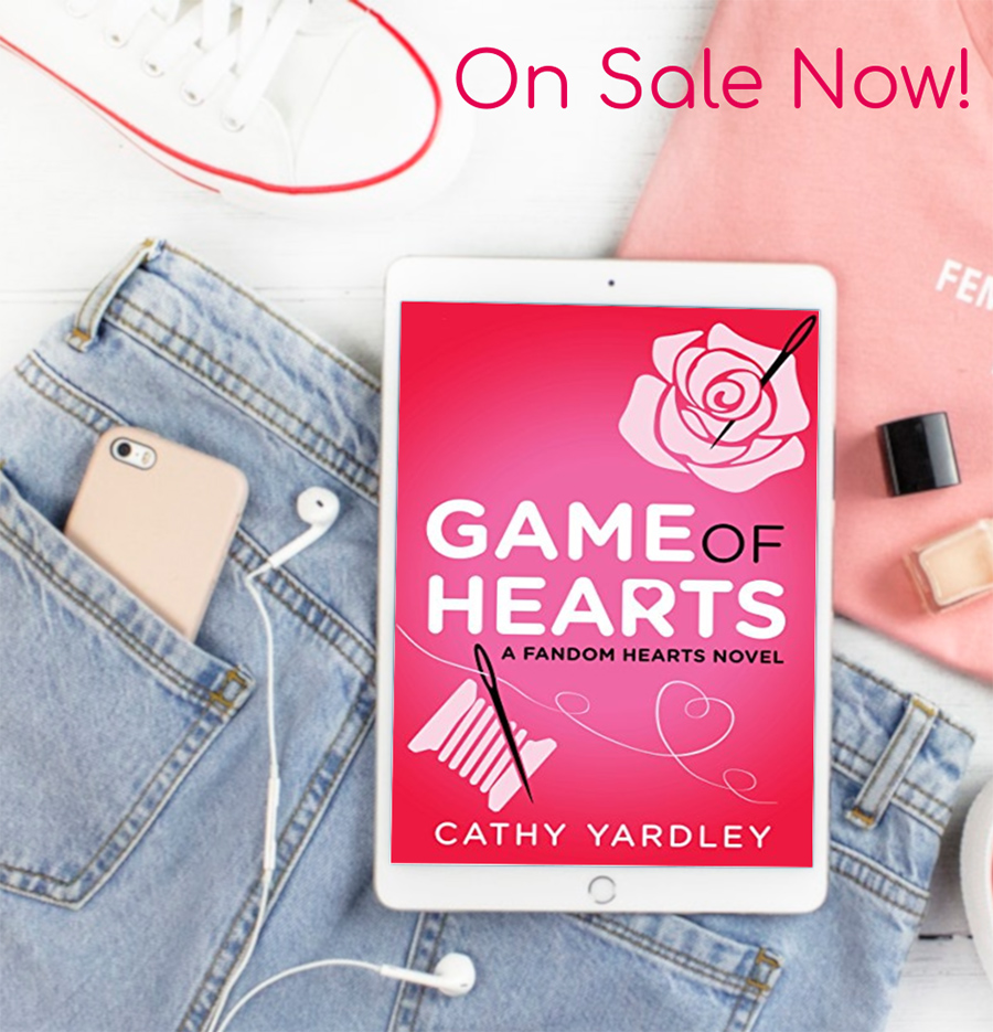 GAME OF HEARTS, the third book in the new adult contemporary romantic comedy series, Fandom Hearts, by Cathy Yardley is on sale now!