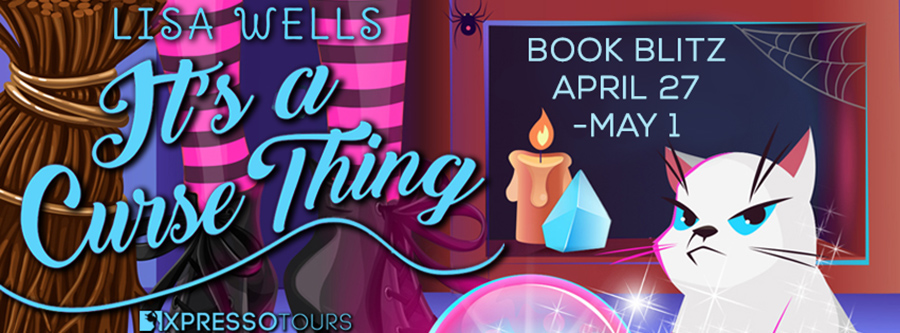 Welcome to the book blitz for IT'S A CURSE THING, the second book in the adult paranormal romantic comedy series, Singles Town, by Lisa Wells