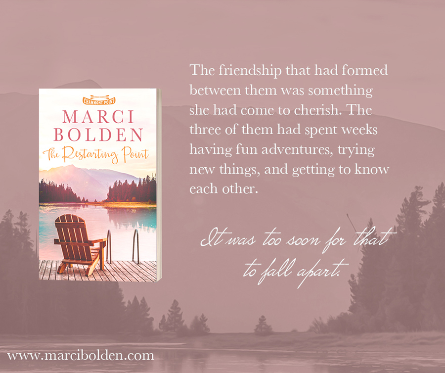 Teaser from THE RESTARTING POINT, the first book in the women's fiction series, Chammont Point, by Marci Bolden