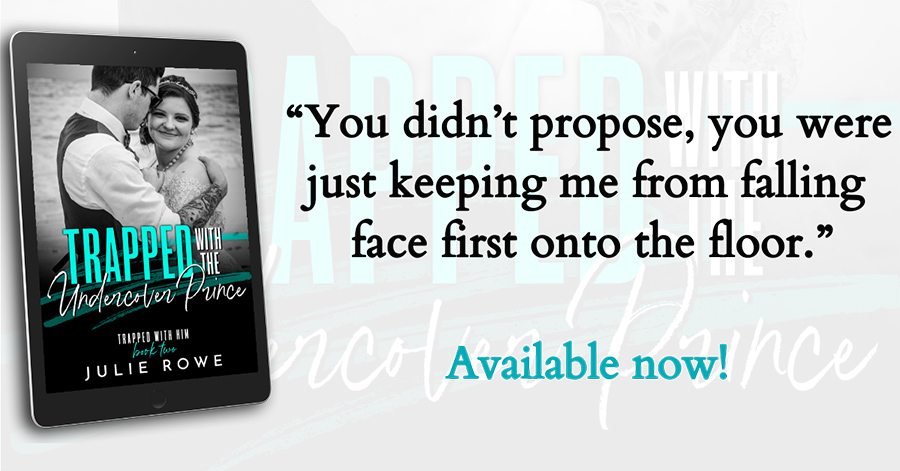 Teaser from TRAPPED WITH THE UNDERCOVER PRINCE, the second book in the adult contemporary romance series, Trapped With Him, by Julie Rowe