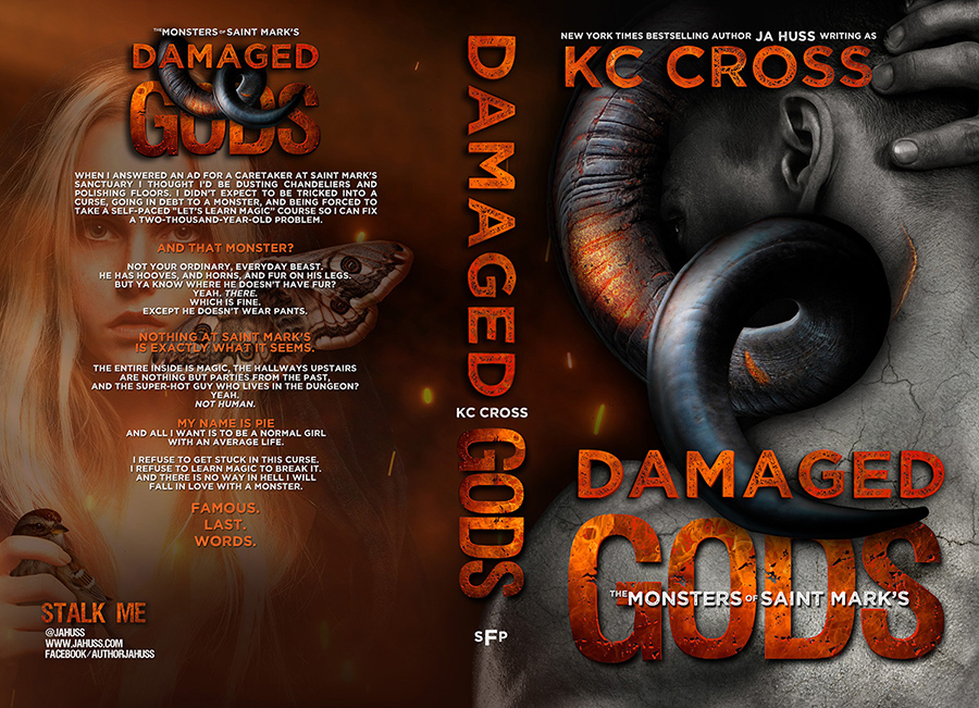 Full cover for DAMAGED GODS, the first book in the adult scifi alien romance series, The Monsters of St. Mark's