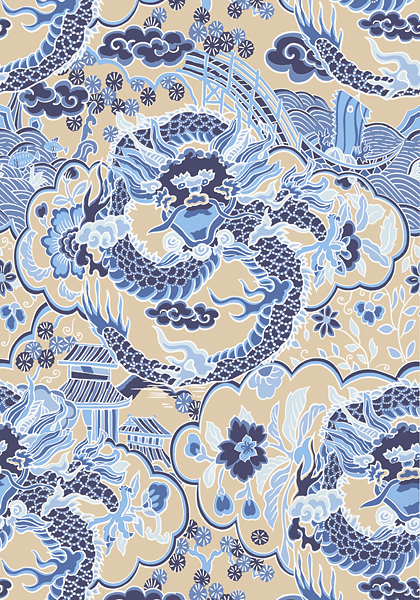 Black And Blue Floral Wallpaper Imperial Dragon Blue And Tan T14236 Collection Imperial