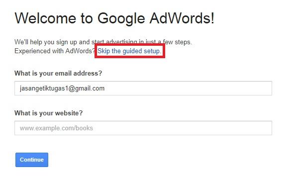 melewati konfigurasi google adword untuk keyword planner