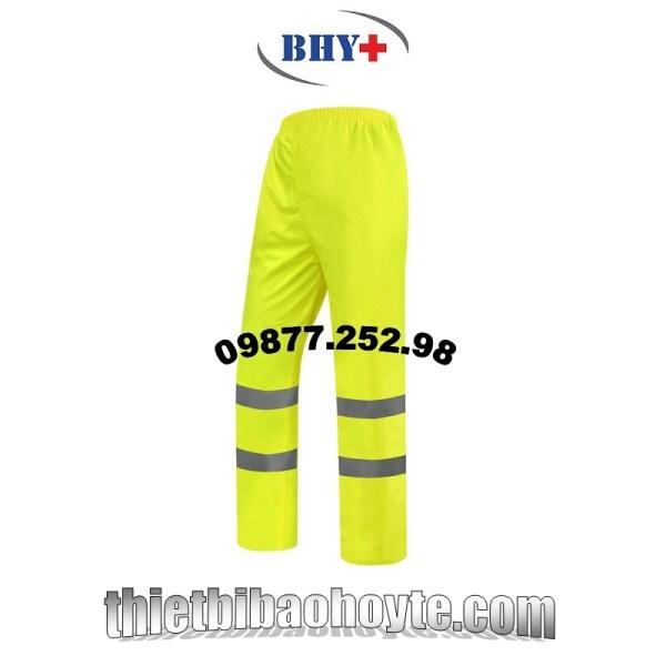 quần mưa phản quang 2 lớp PVC màu vàng