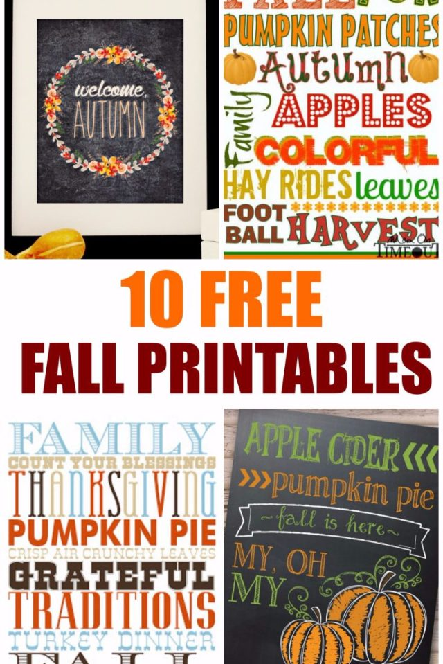 Fall is on the way! That means school, Halloween, Thanksgiving and lots of leaves! We have rounded up 10 FREE Fall Printables to help you decorate or give as gifts. These are cute and fun to have around. Hope you enjoy them!