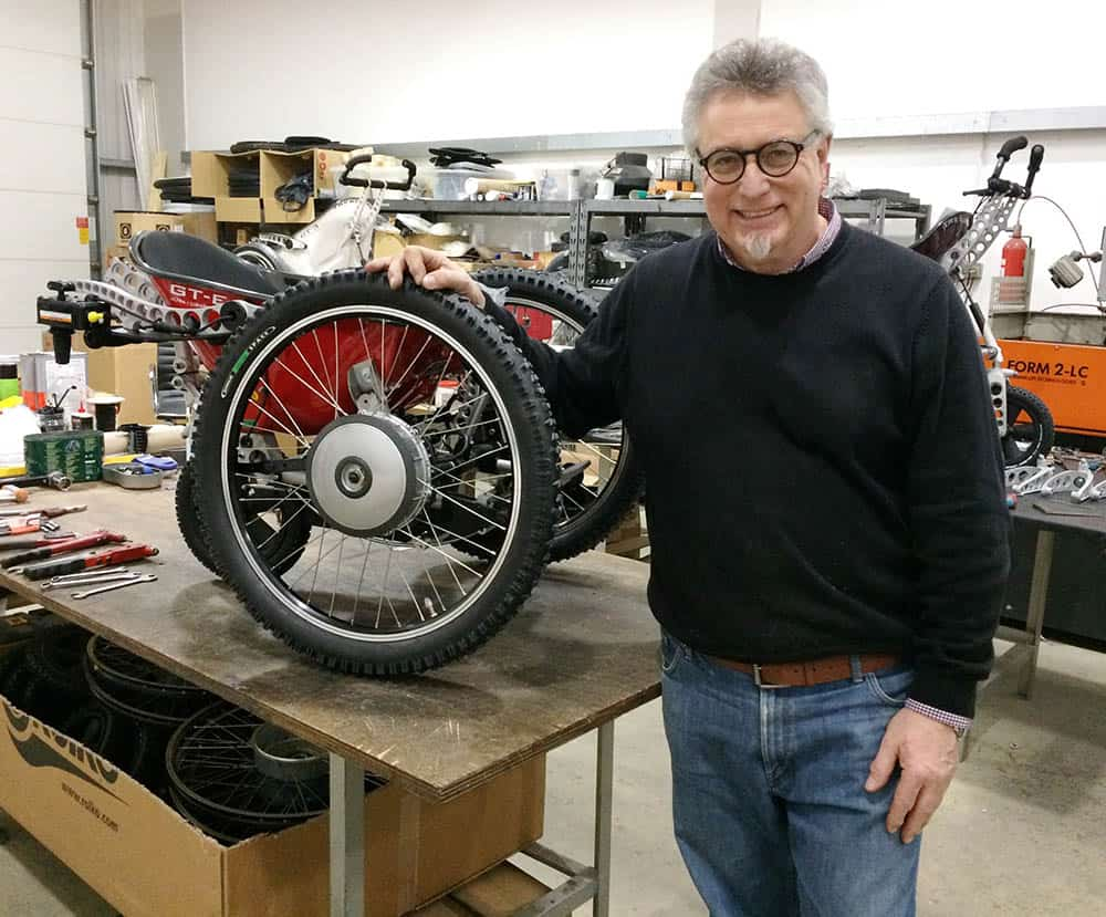 Trekinetic's Mike Spindle in front of GTE Mk II chair