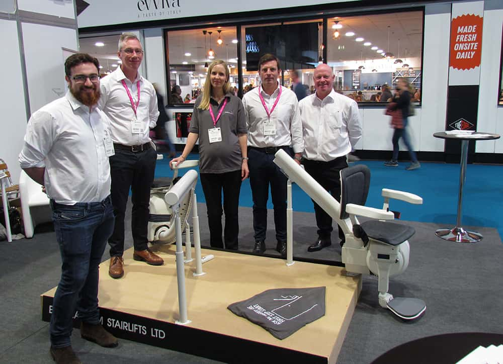 The Platinum Stairlifts' team still smiling on stand E54 at the OT Show