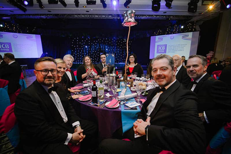 BHTA Awards dinner table Alastair Maxwell, Simon Weston, Sally Edginton