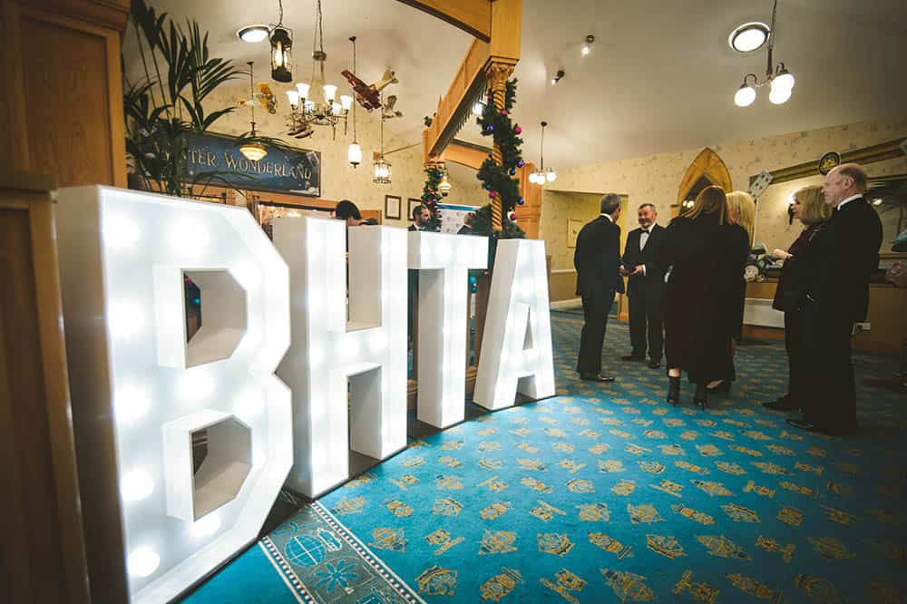 BHTA sign lit up at the BHTA Awards