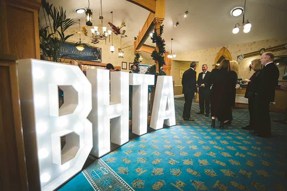 BHTA sign lit up at the BHTA Awards