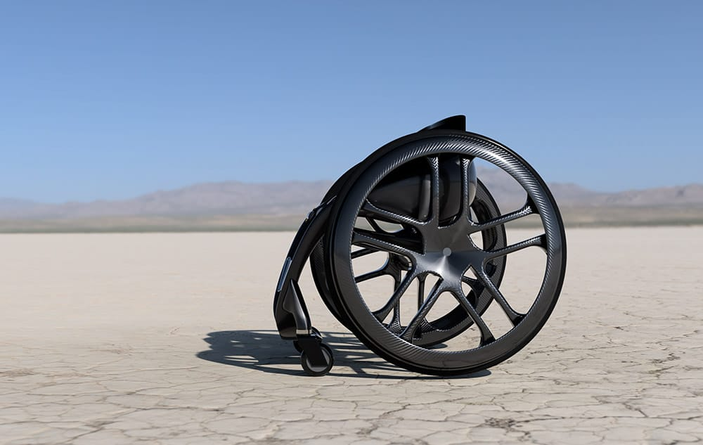 Phoenix AI wheelchair sideways view in desert