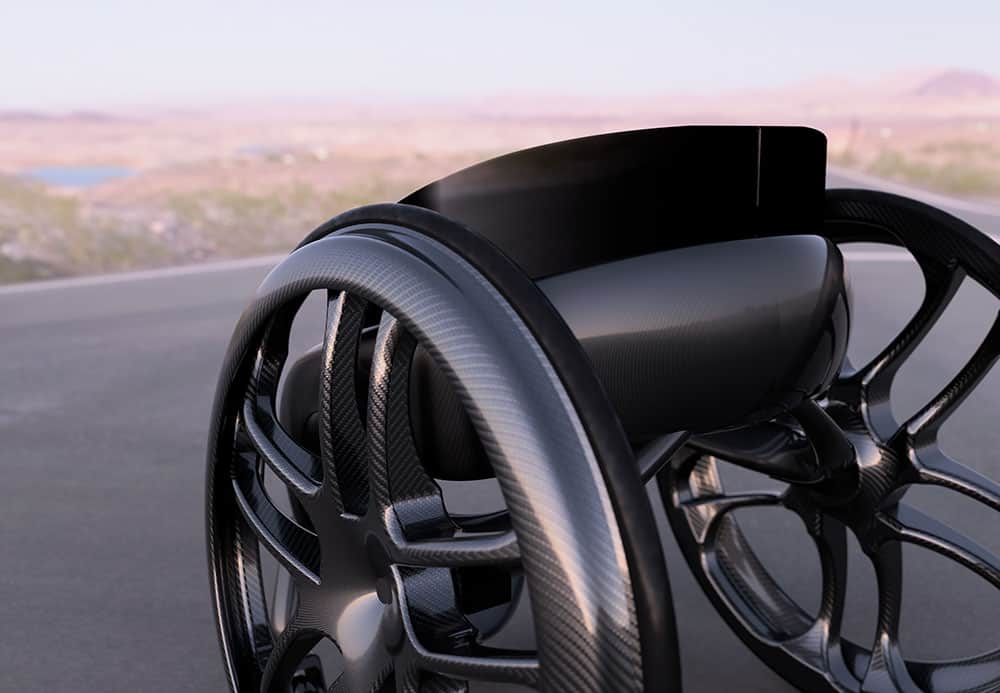 Phoenix AI ultra-lightweight carbon fibre wheelchair up close in desert