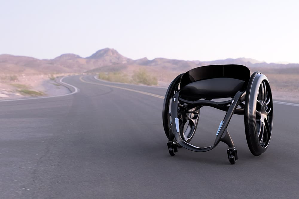 Phoenix AI lightweight wheelchair in Nevada desert