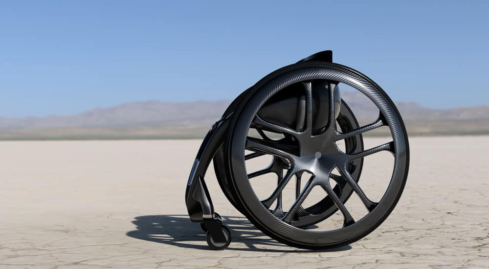 Phoenix Instinct side profile shot of wheelchair in desert