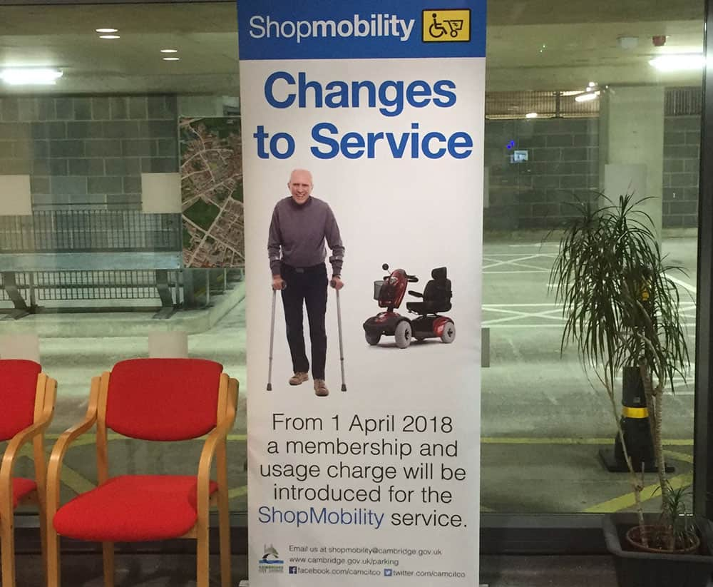Shopmobility charges banner in Cambridge before Council changed decision in January 2019