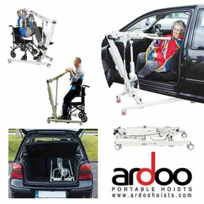 Montage of Ardoo Portable Hoists images being used in different scenarios and logo in bottom right-hand corner