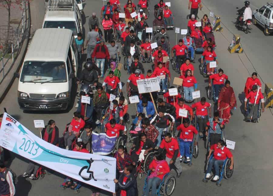 Celebrations in Katmandhu for 2013's International Wheelchair Day