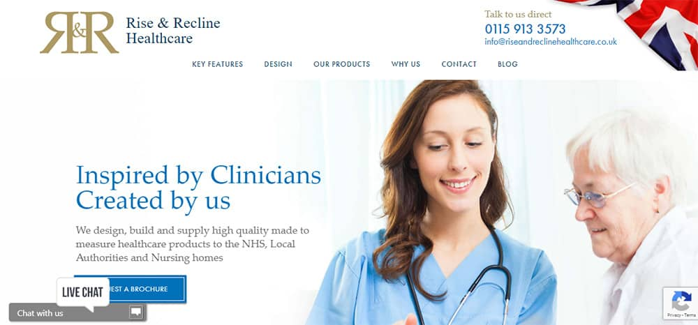 Rise & Recline website