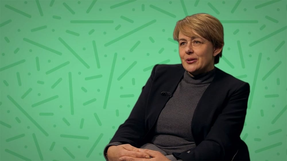 Tanni Grey Thompson being interviewed on BBC short film about disability