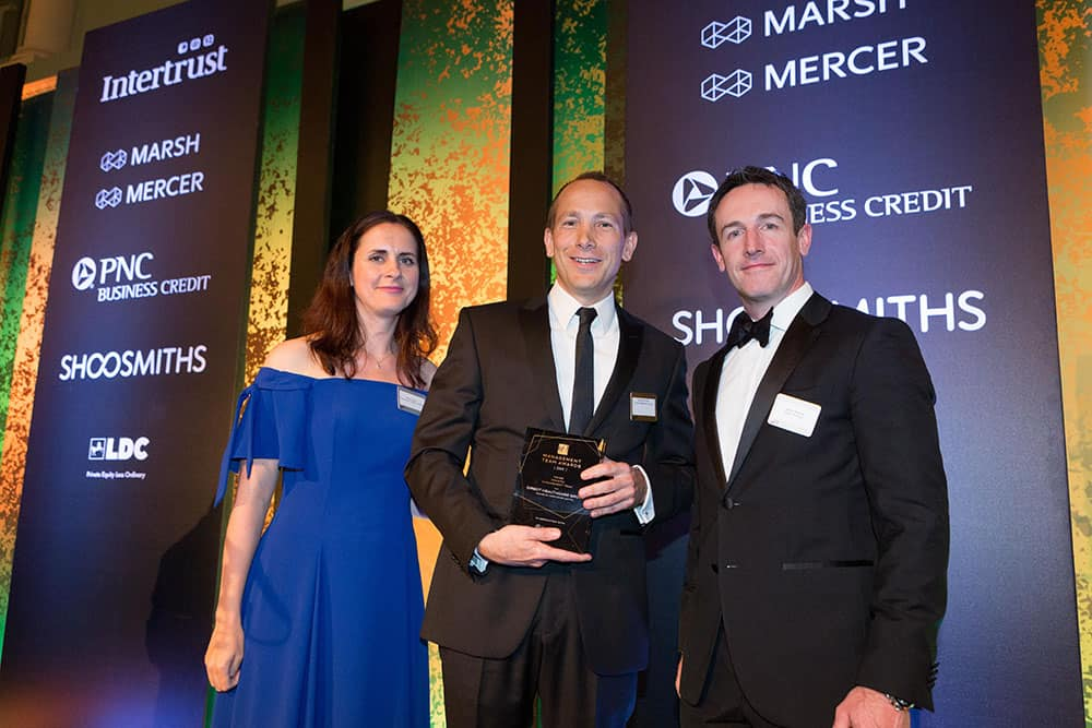 Robert Brodie, CFO, collecting award on behalf of Direct Healthcare Group at BVCA Management Team Awards 2019