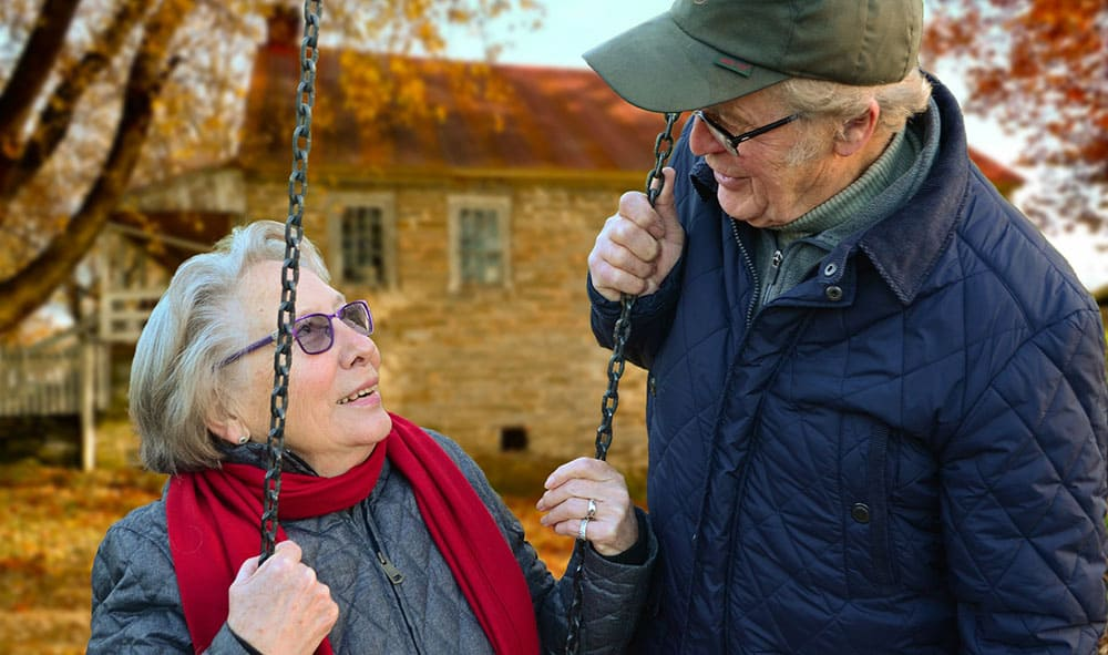 old people happy on swing ageing better