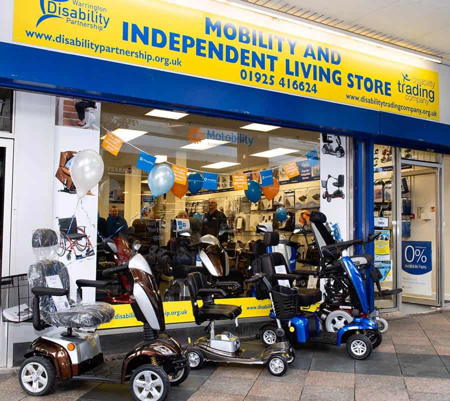 The new Warrington Disability Partnership store with mobility scooters outside