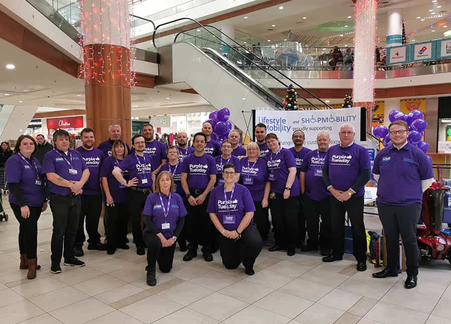 The Lifestyle and Mobility team taking part in Purple Tuesday in 2019