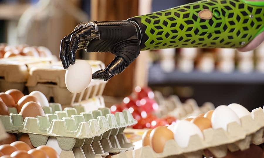 prosthetic hand ottobock picking up egg