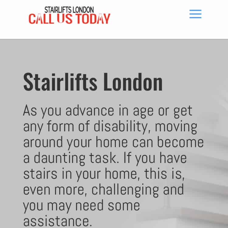 Stairlifts London Company UK mobile-friendly website image