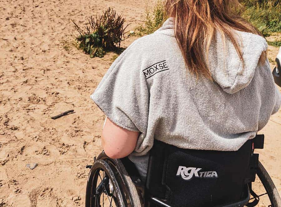 MOXSE WAVES wheelchair adapted towel on the beach