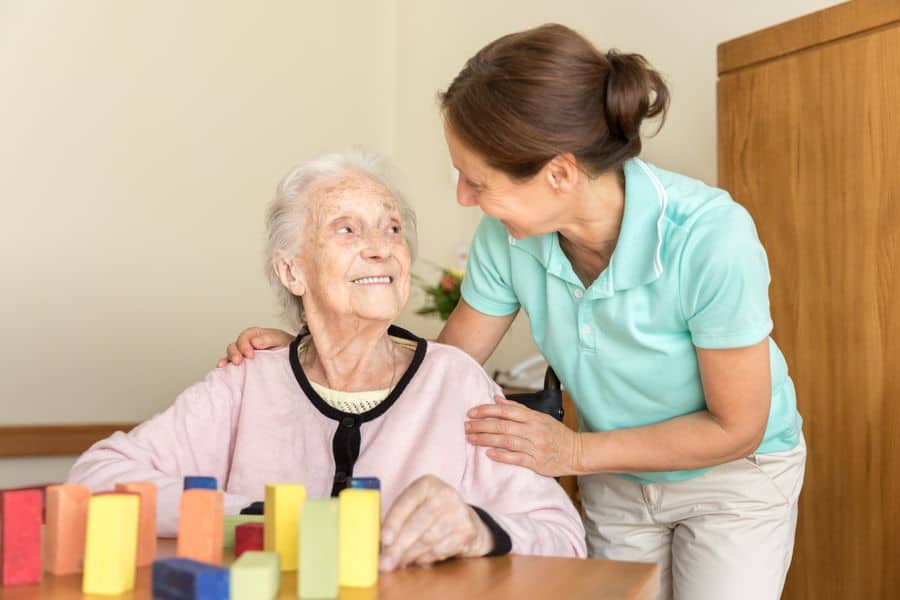 Carer with elderly lady
