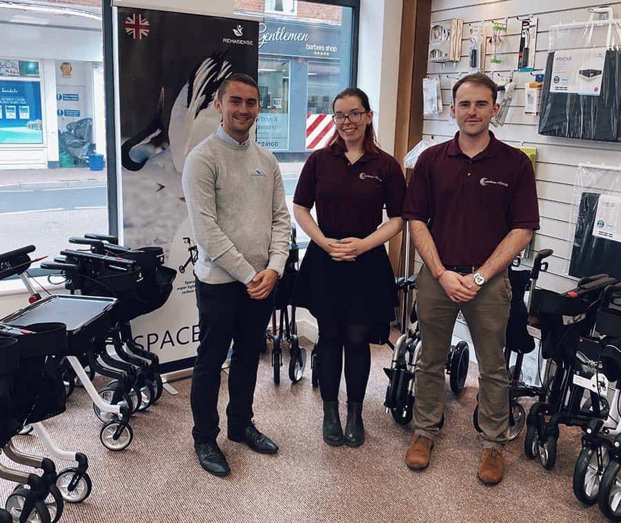 A representative from Rehasense pays Matt and Georgina a visit at the Exmouth store during opening week website
