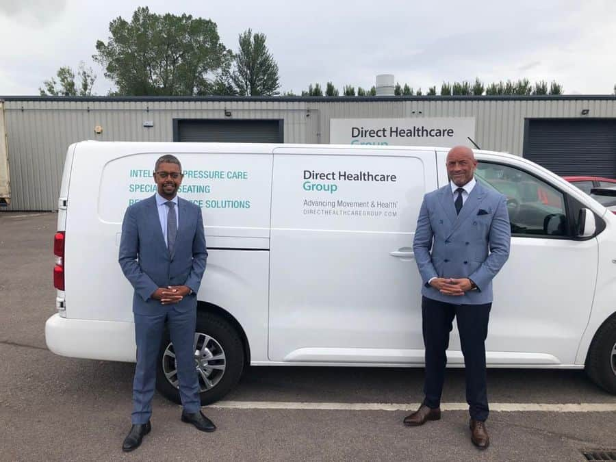 Vaughan Gething MS, Minister of economy for Wales with Graham Ewart, CEO, Direct Healthcare Group