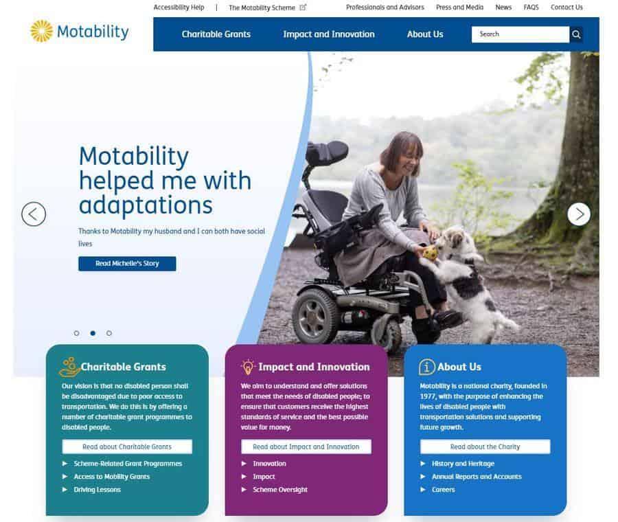 Motability's new website homepage