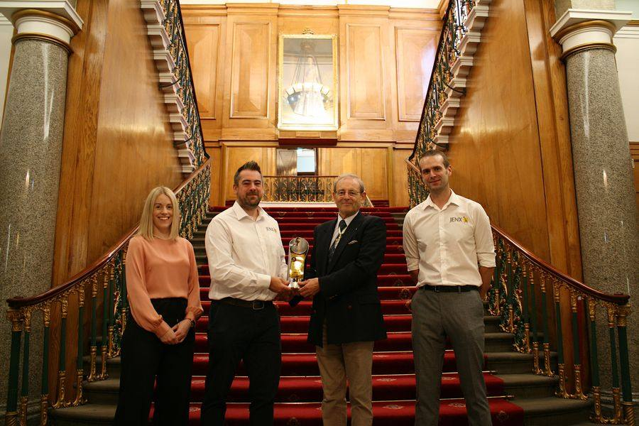 The Jenx team with Nicholas D O Williams TD DL, Master Cutler at Cutler's Hall in Sheffield City Centre