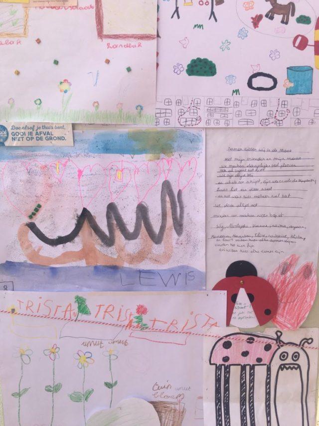 Tekeningen van kinderen over hoe ze de straat willen inrichten