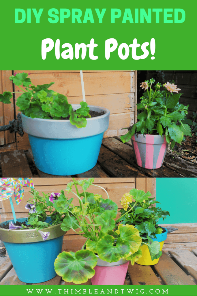 Looking for cute ways to brighten up a garden? Try these easy spray painted terracotta plant pots