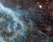 Turquoise-tinted plumes in the Large Magellanic Cloud