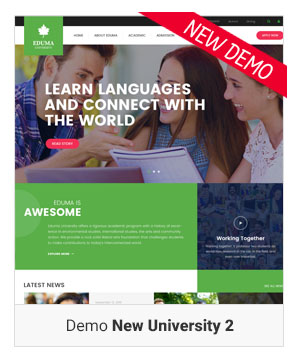 Education WordPress theme - Demo New University 2